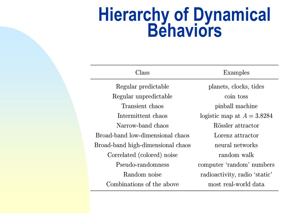 Hierarchy of Dynamical Behaviors