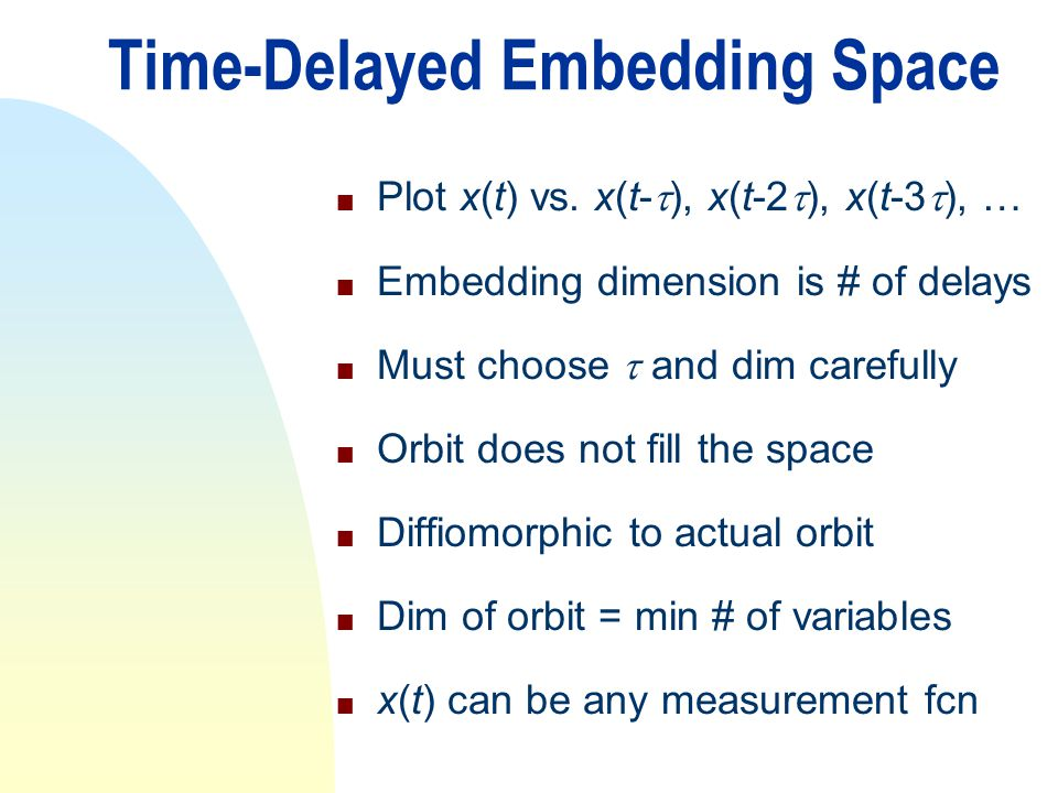 Time-Delayed Embedding Space
