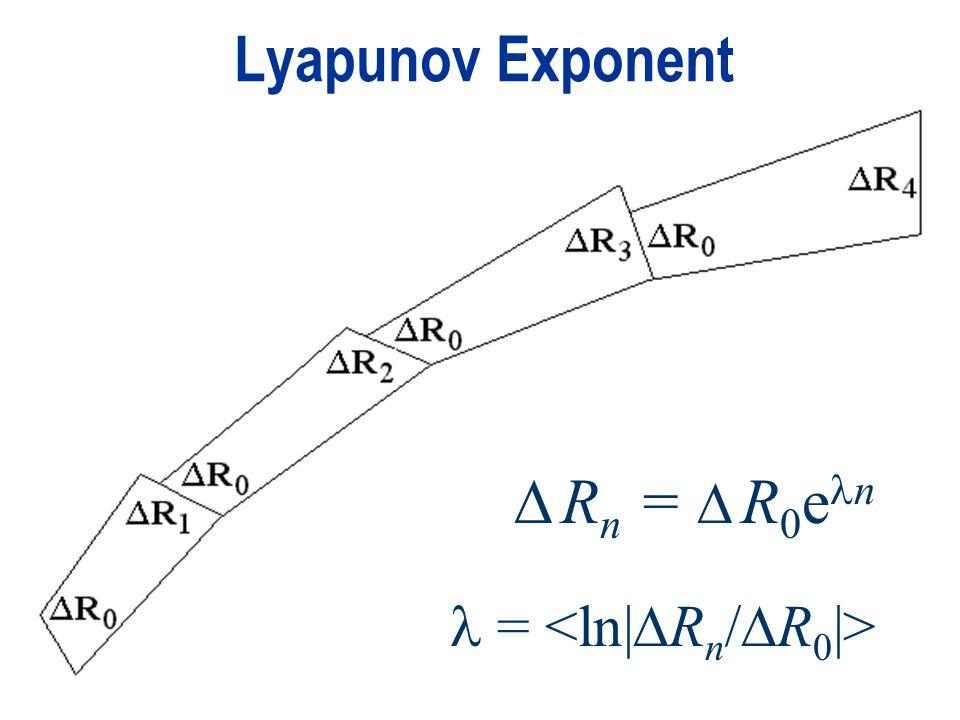 Lyapunov Exponent  Rn =  R0en  = <ln|Rn/R0|>