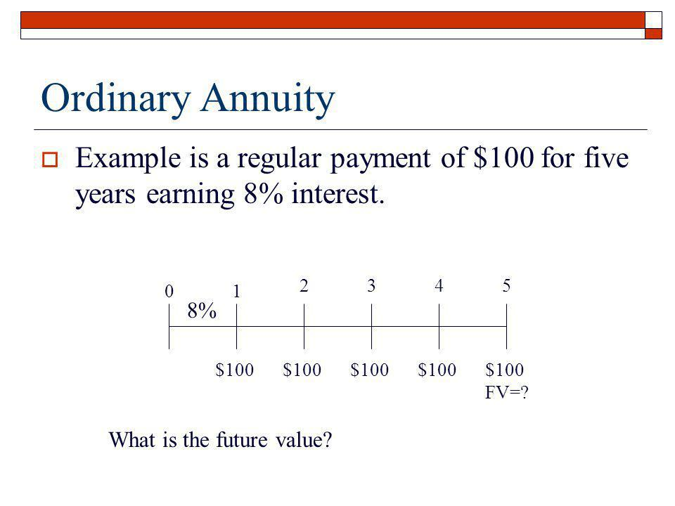 Ordinary Annuity Example is a regular payment of $100 for five years earning 8% interest. 1. 2. 3.