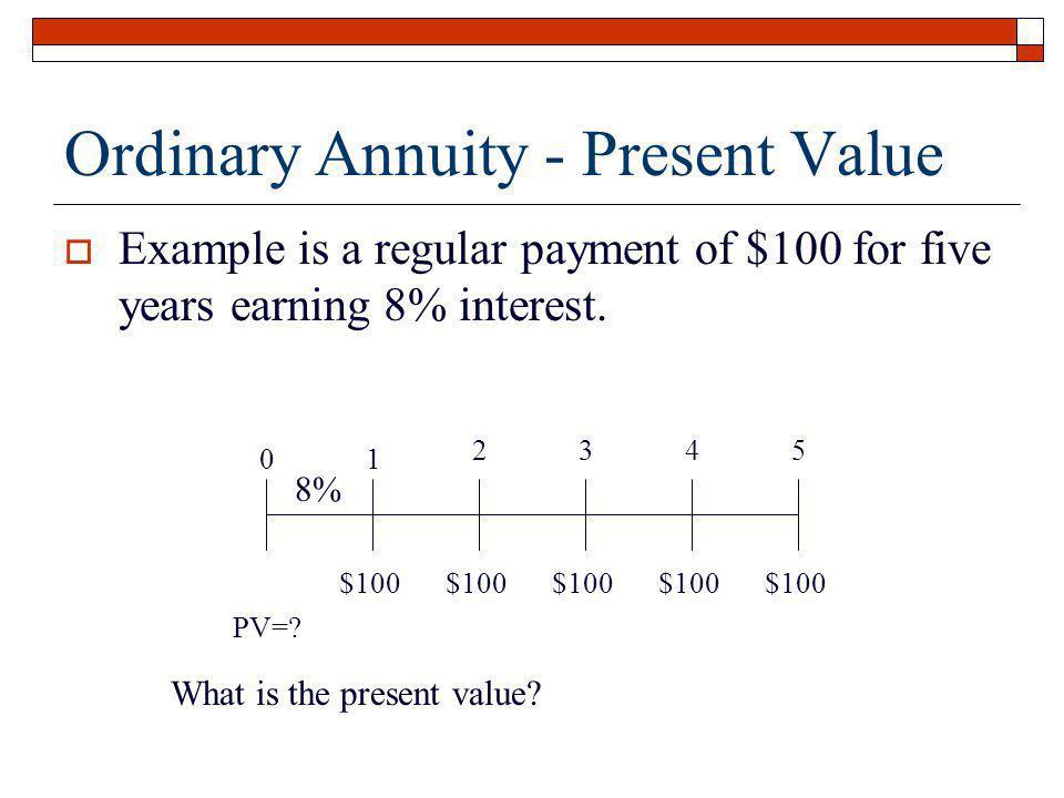 Ordinary Annuity - Present Value