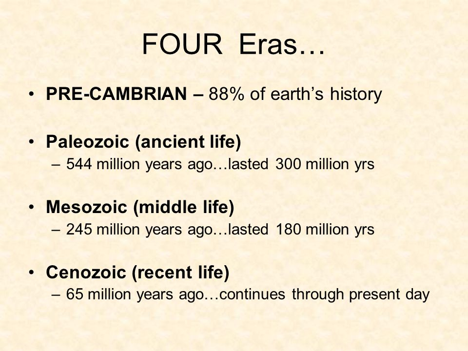 FOUR Eras… PRE-CAMBRIAN – 88% of earth's history