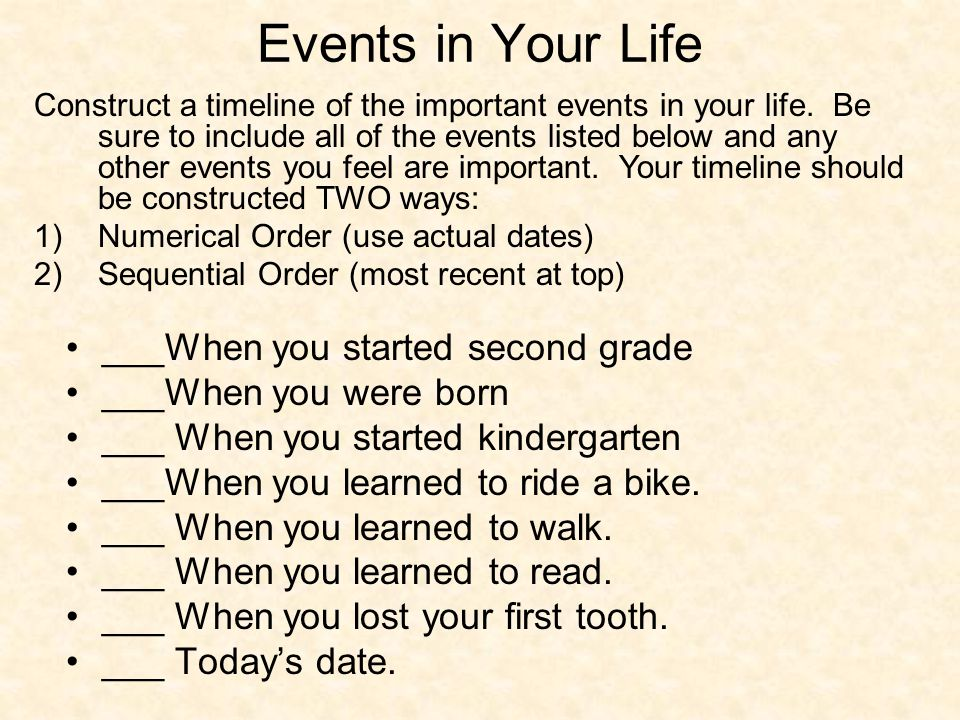 Events in Your Life ___When you started second grade