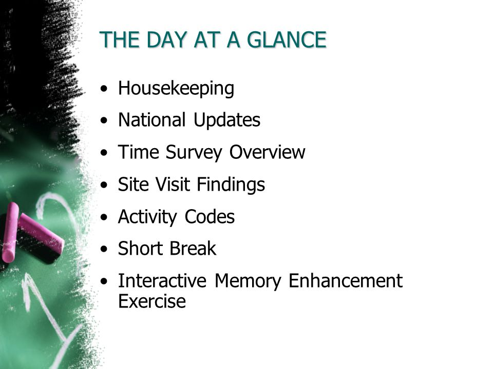 THE DAY AT A GLANCE Housekeeping National Updates Time Survey Overview