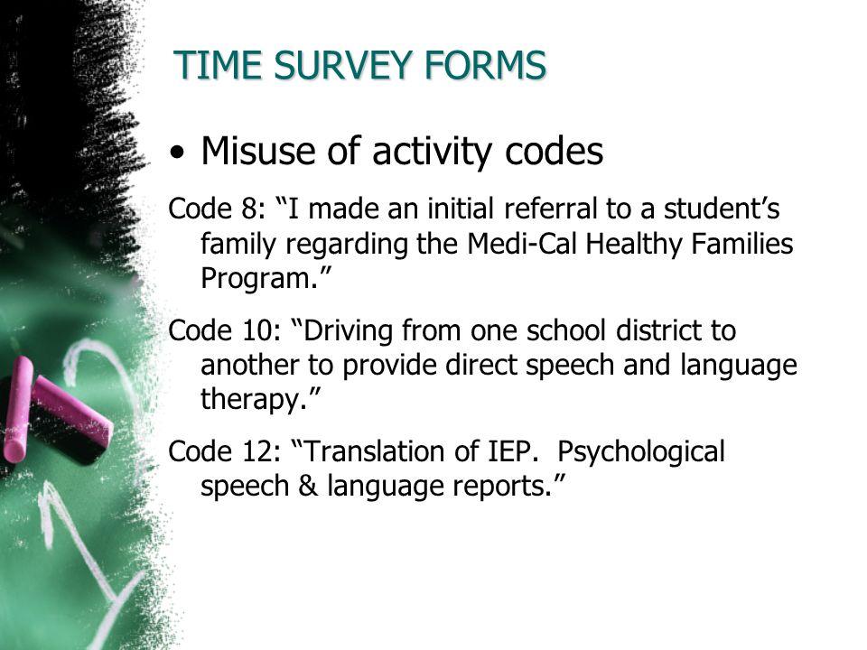 Misuse of activity codes