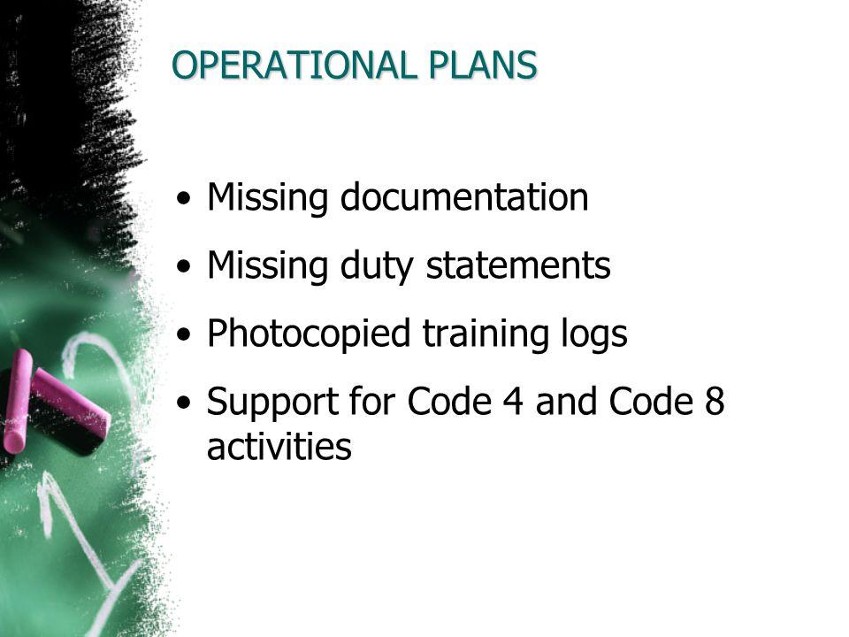 Missing documentation Missing duty statements