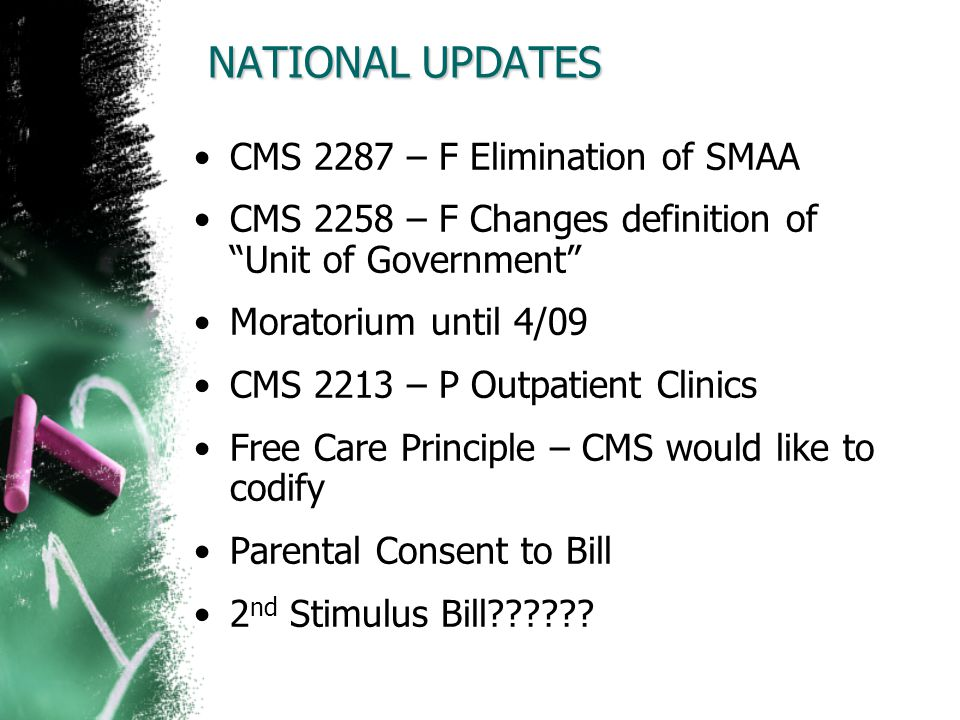 NATIONAL UPDATES CMS 2287 – F Elimination of SMAA