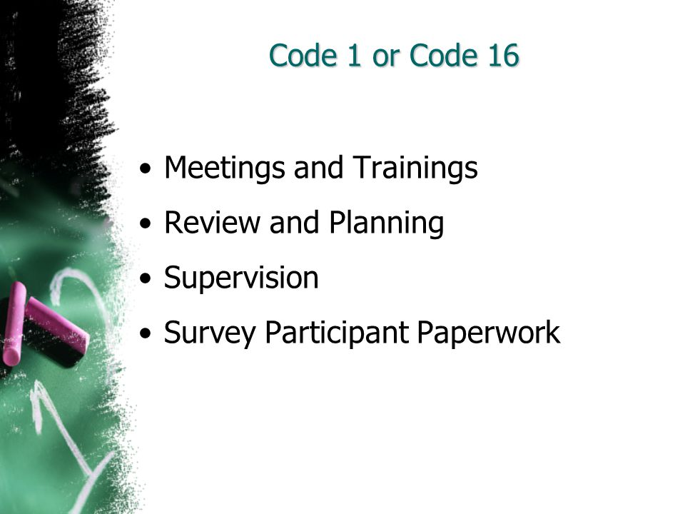 Code 1 or Code 16 Meetings and Trainings. Review and Planning.