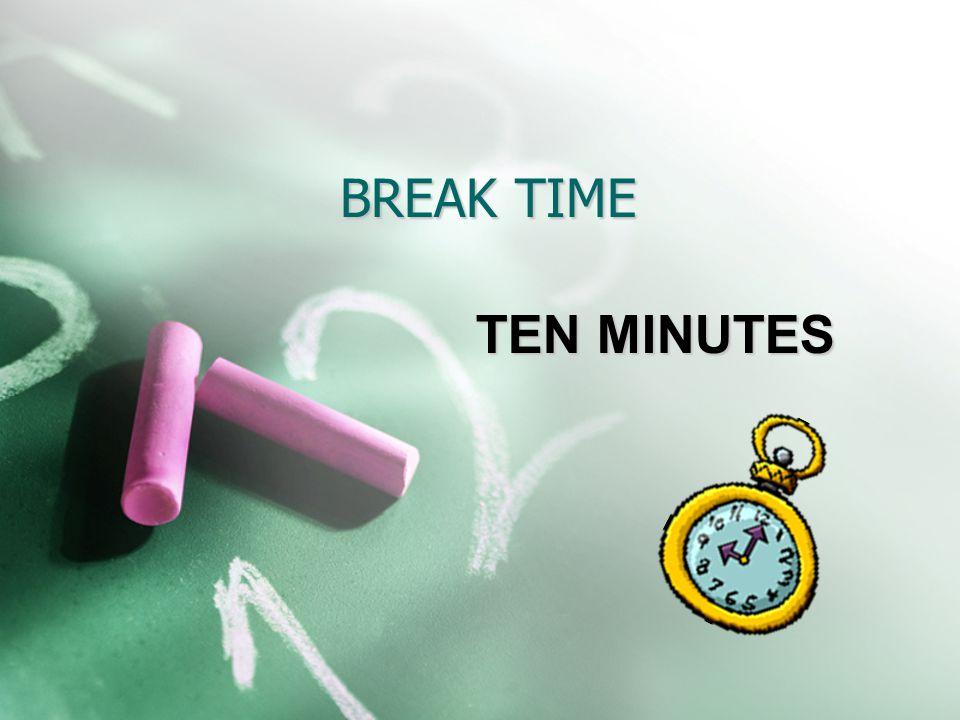 BREAK TIME TEN MINUTES