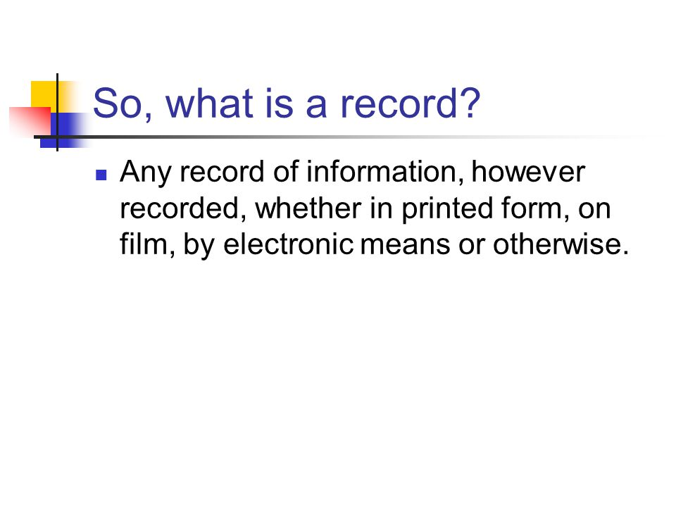 So, what is a record.