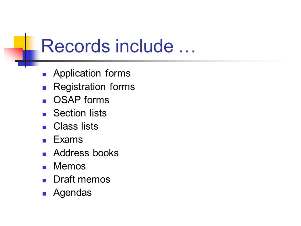 Records include … Application forms Registration forms OSAP forms