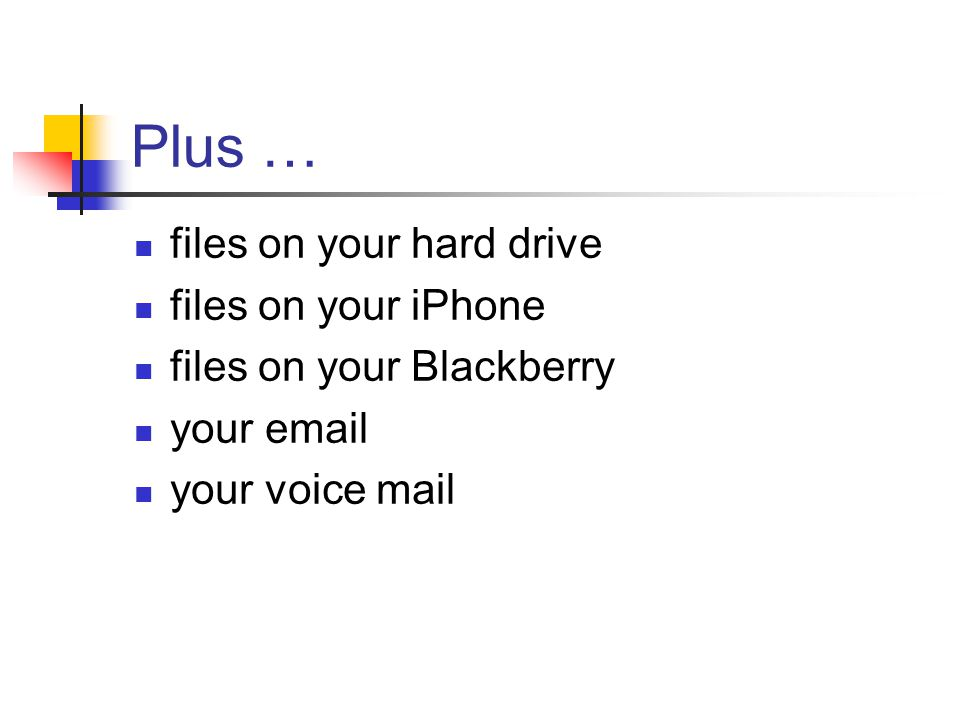 Plus … files on your hard drive files on your iPhone