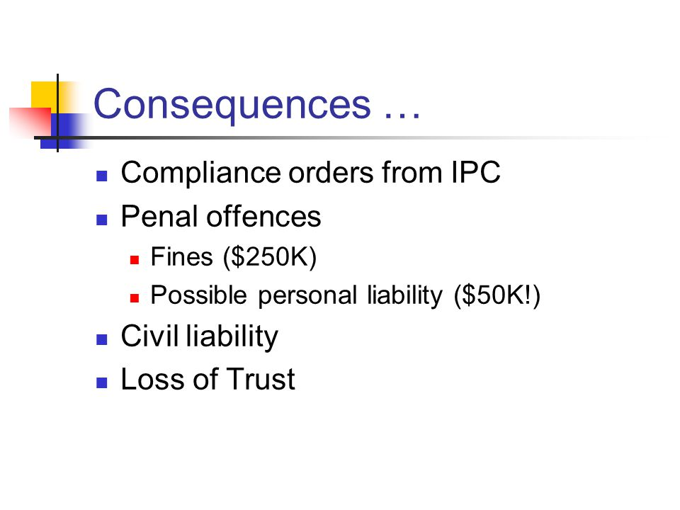 Consequences … Compliance orders from IPC Penal offences