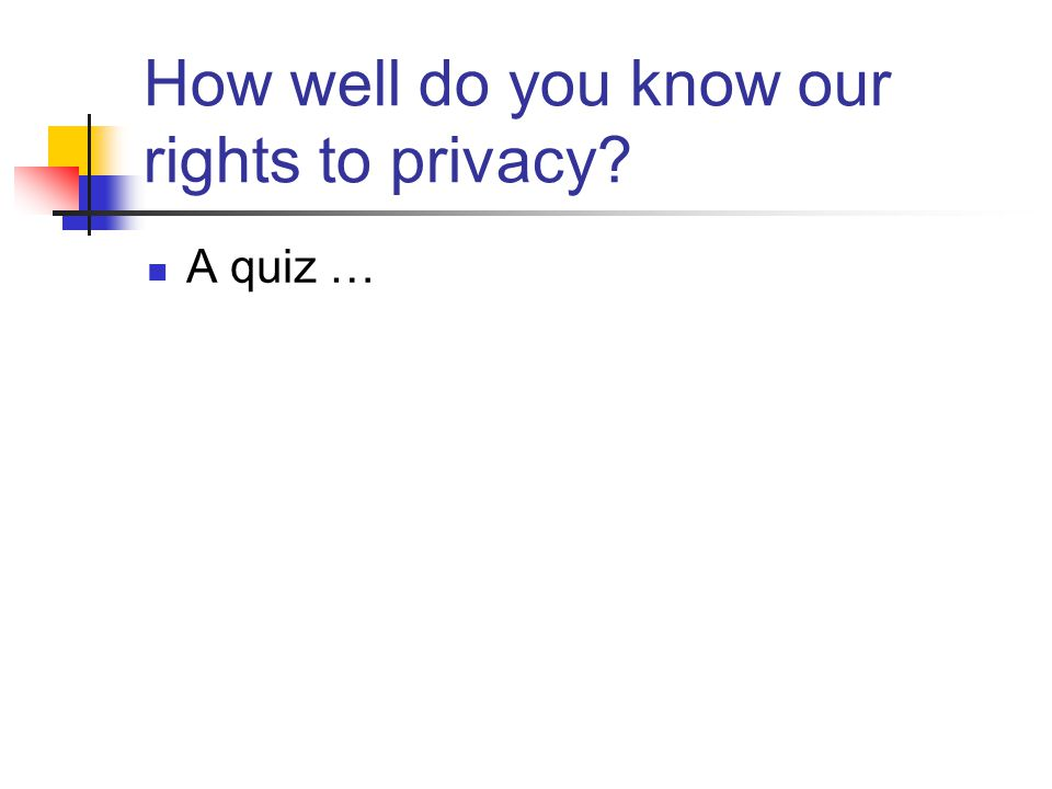 How well do you know our rights to privacy