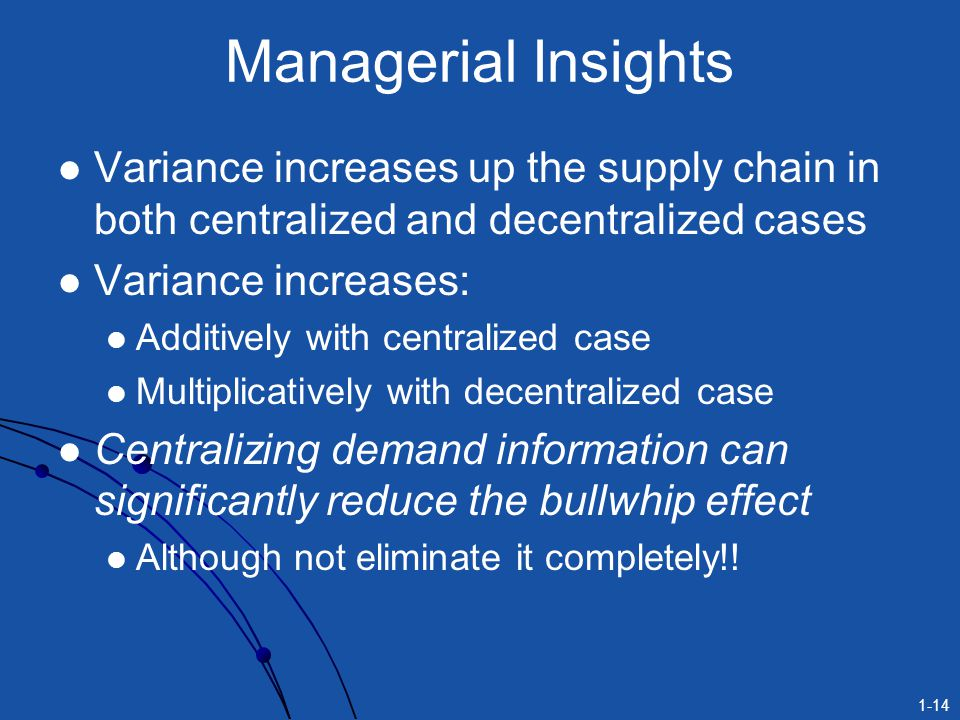 Managerial Insights Variance increases up the supply chain in both centralized and decentralized cases.