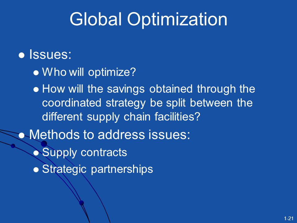 Global Optimization Issues: Methods to address issues: