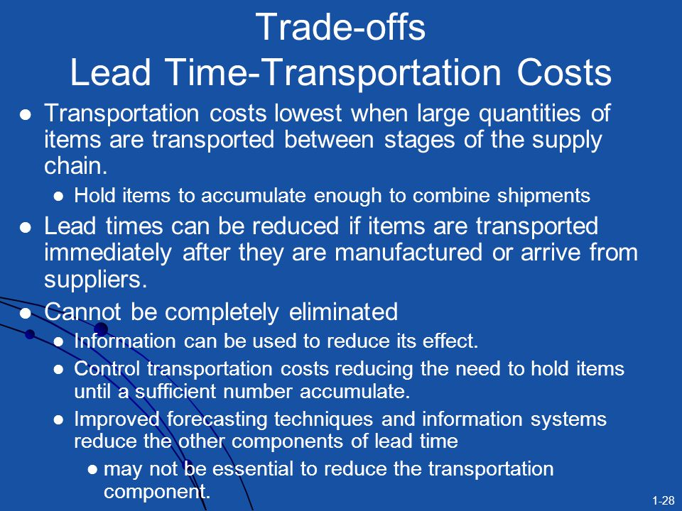 Trade-offs Lead Time-Transportation Costs