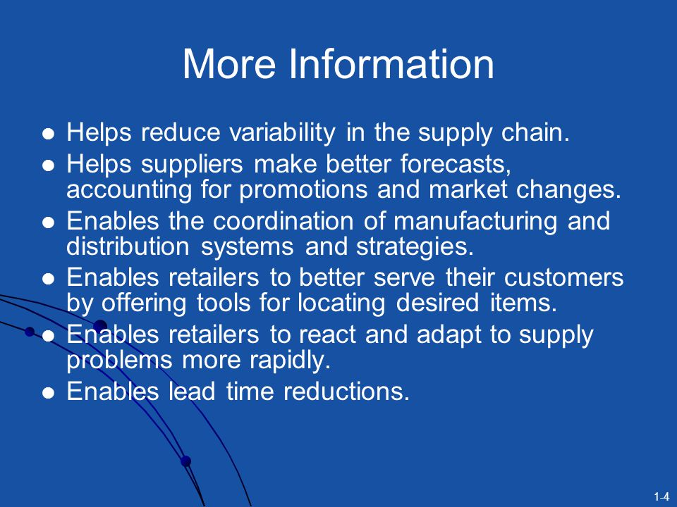 More Information Helps reduce variability in the supply chain.