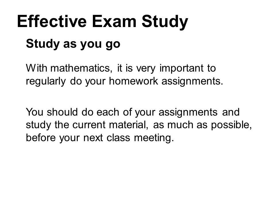 Effective Exam Study Study as you go