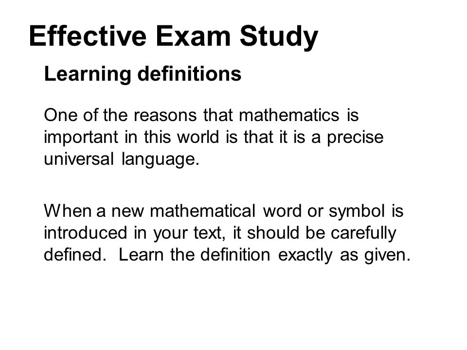 Effective Exam Study Learning definitions