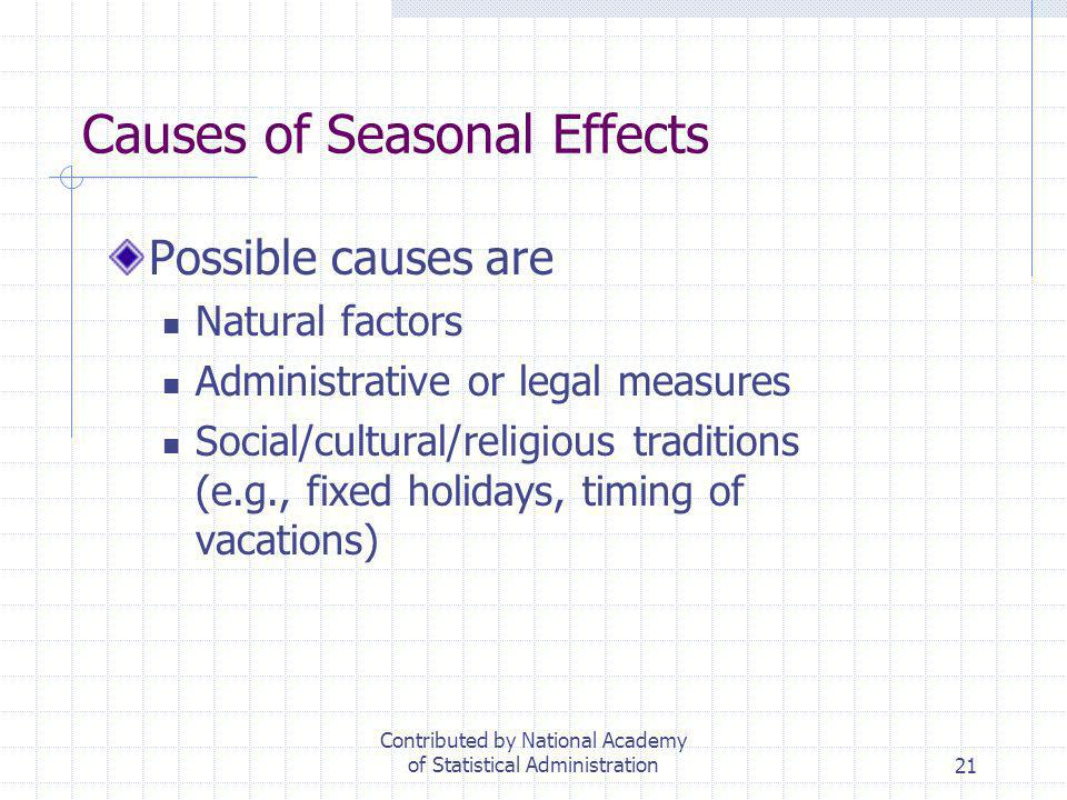 Causes of Seasonal Effects