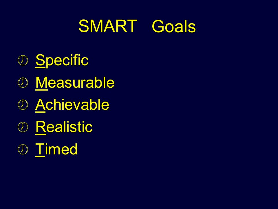 Effective Goals SMART Specific Measurable Achievable Realistic Timed