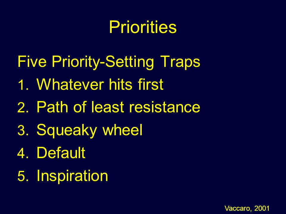 Priorities Five Priority-Setting Traps Whatever hits first