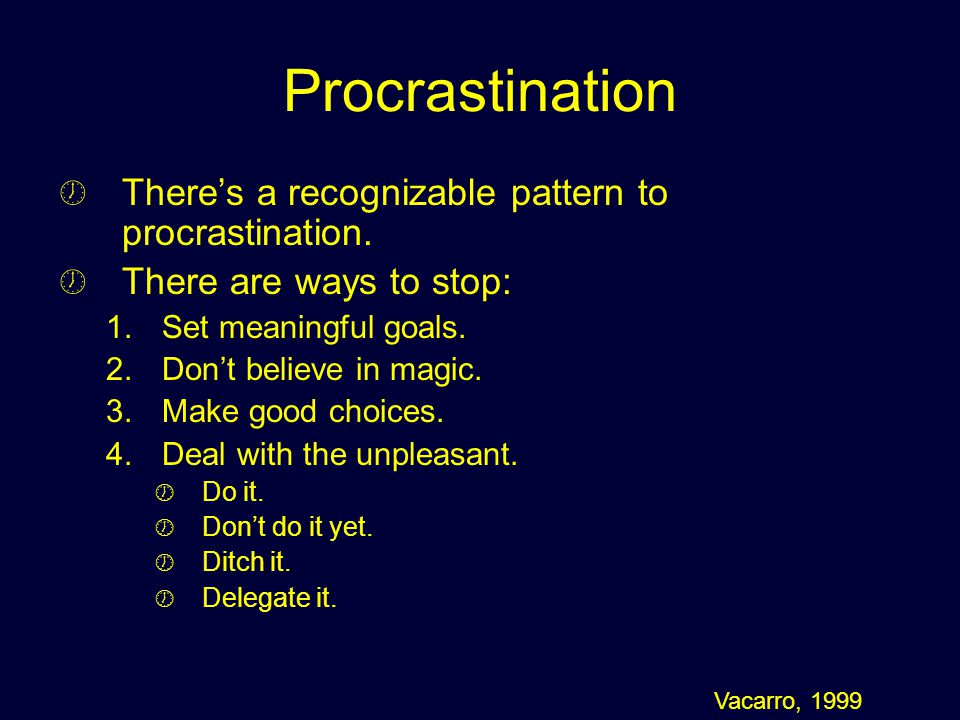 Procrastination There's a recognizable pattern to procrastination.