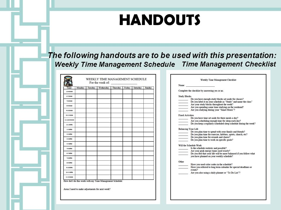 HANDOUTS The following handouts are to be used with this presentation: