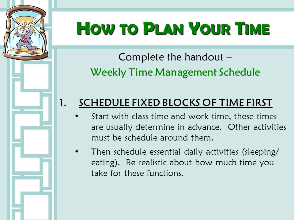 Weekly Time Management Schedule