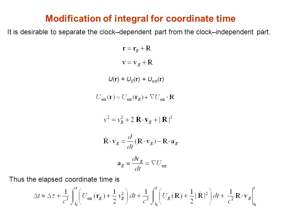 Modification of integral for coordinate time