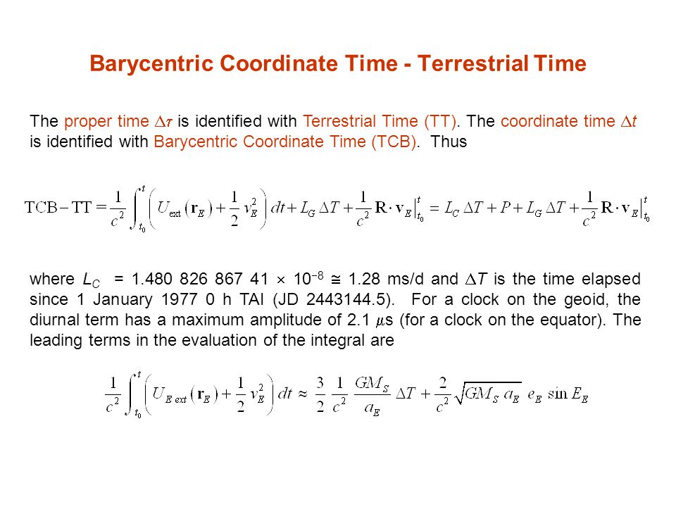 Barycentric Coordinate Time - Terrestrial Time