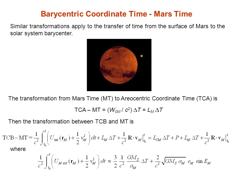 Barycentric Coordinate Time - Mars Time