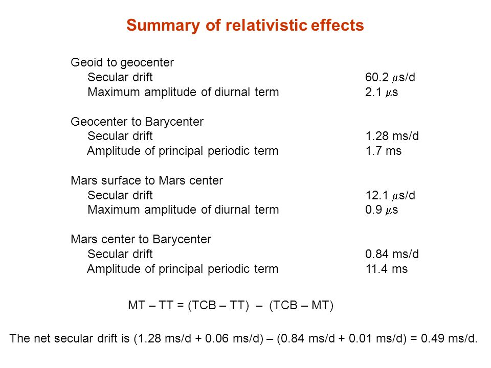 Summary of relativistic effects