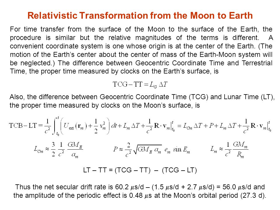 Relativistic Transformation from the Moon to Earth