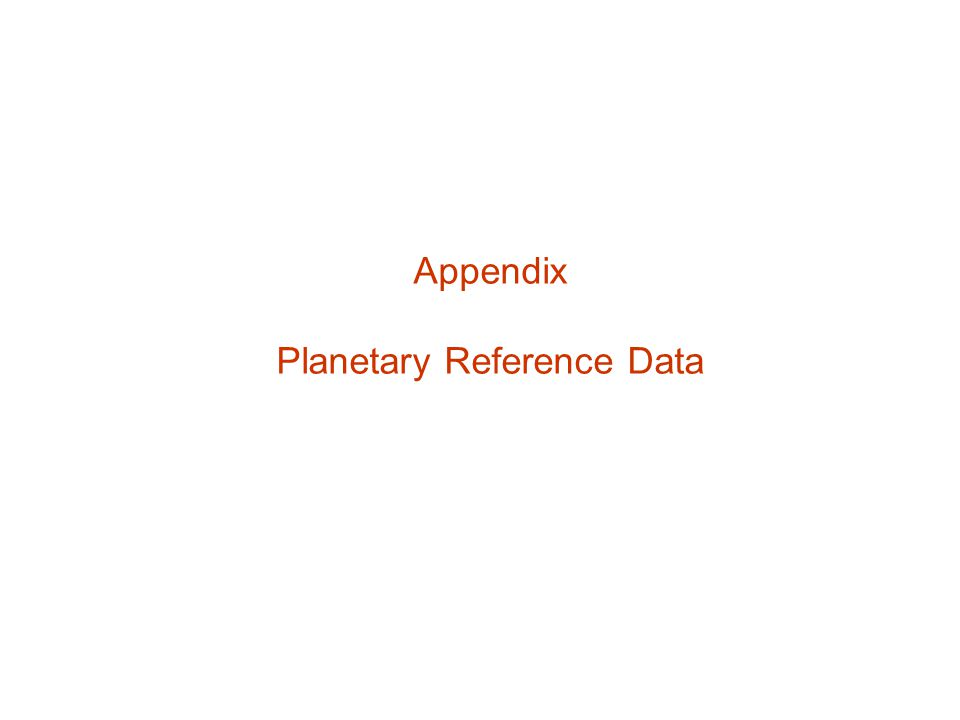 Planetary Reference Data