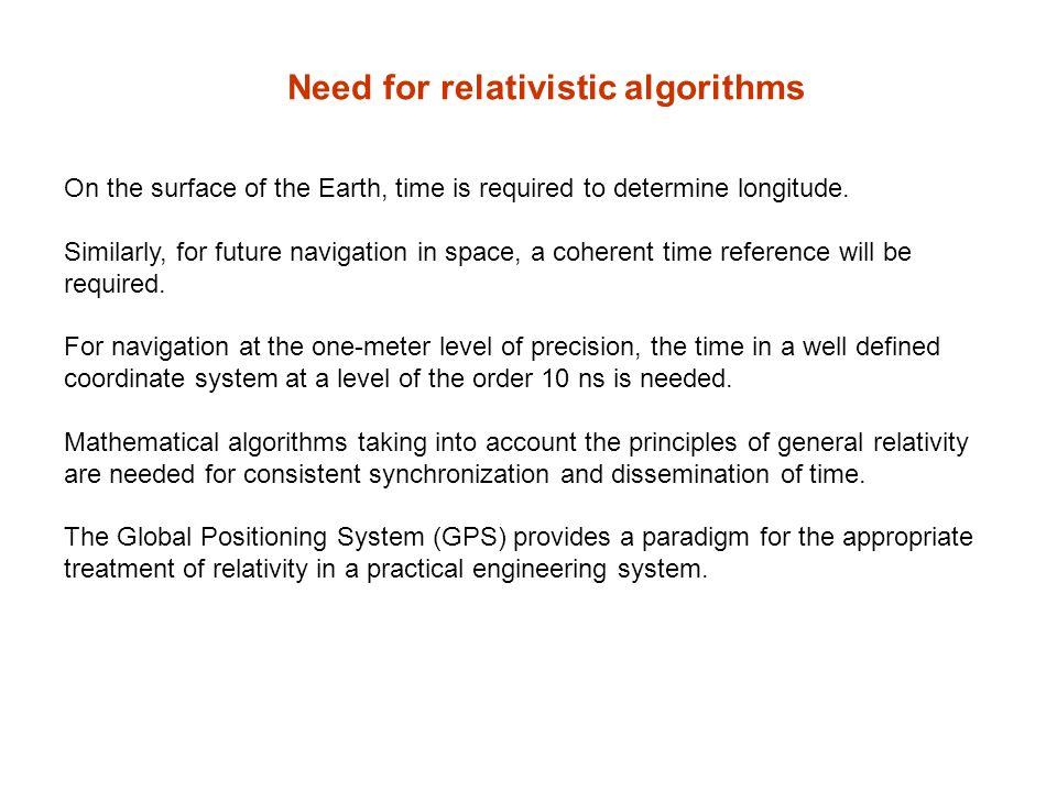 Need for relativistic algorithms