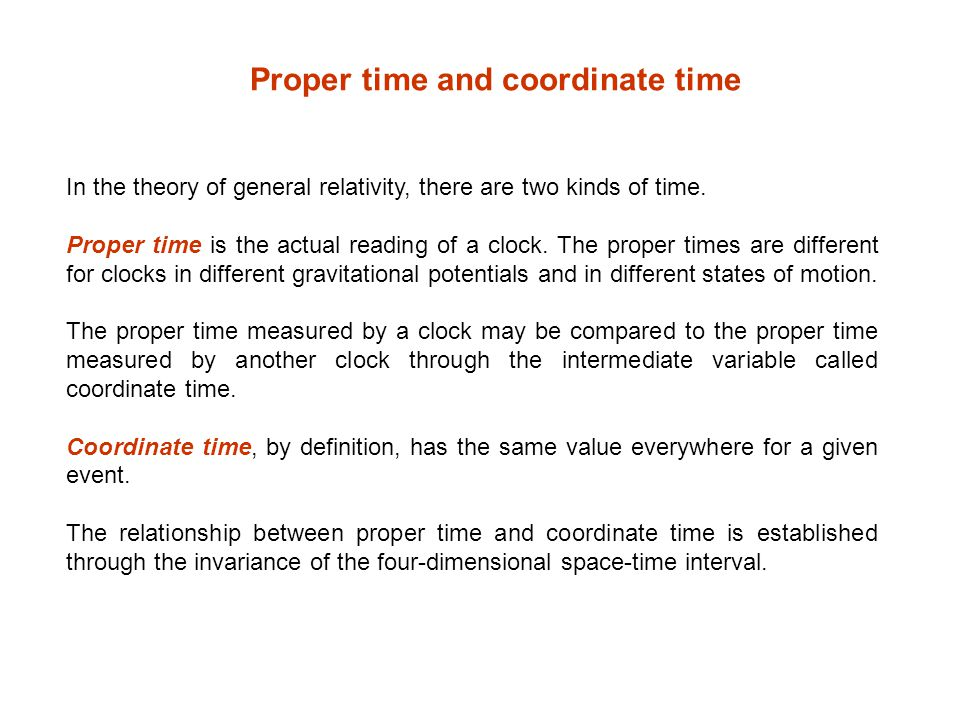 Proper time and coordinate time
