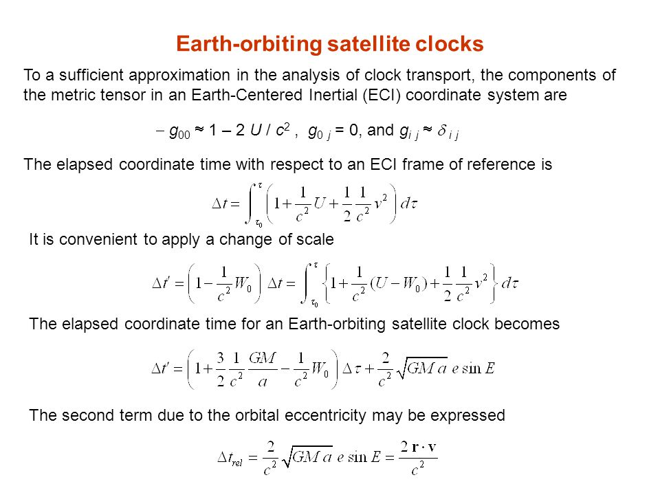 Earth-orbiting satellite clocks