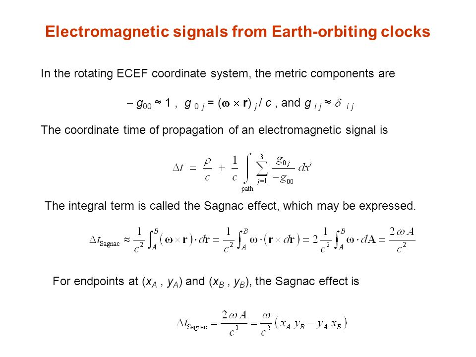 Electromagnetic signals from Earth-orbiting clocks