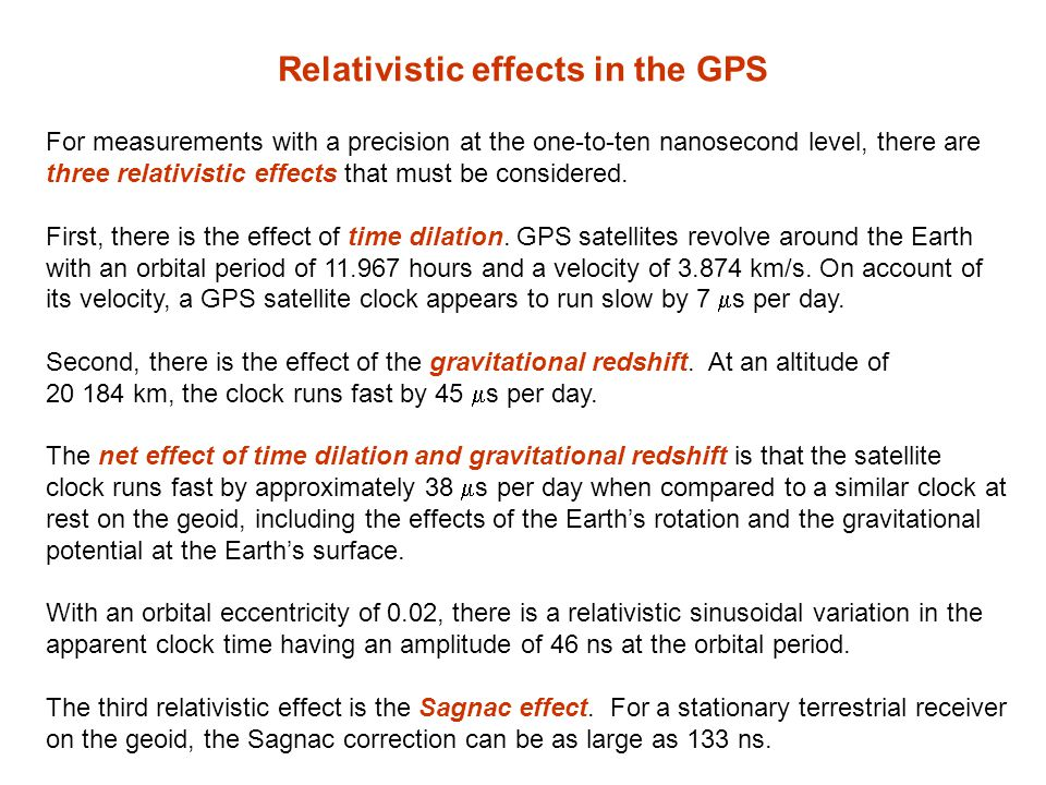 Relativistic effects in the GPS