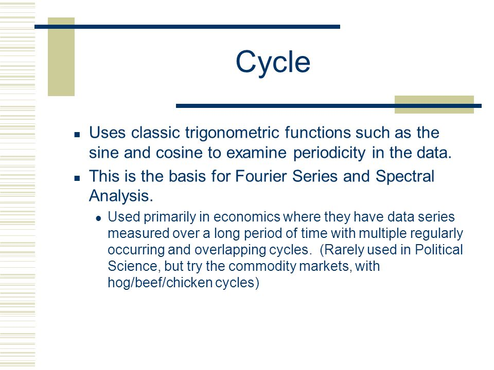 Cycle Uses classic trigonometric functions such as the sine and cosine to examine periodicity in the data.