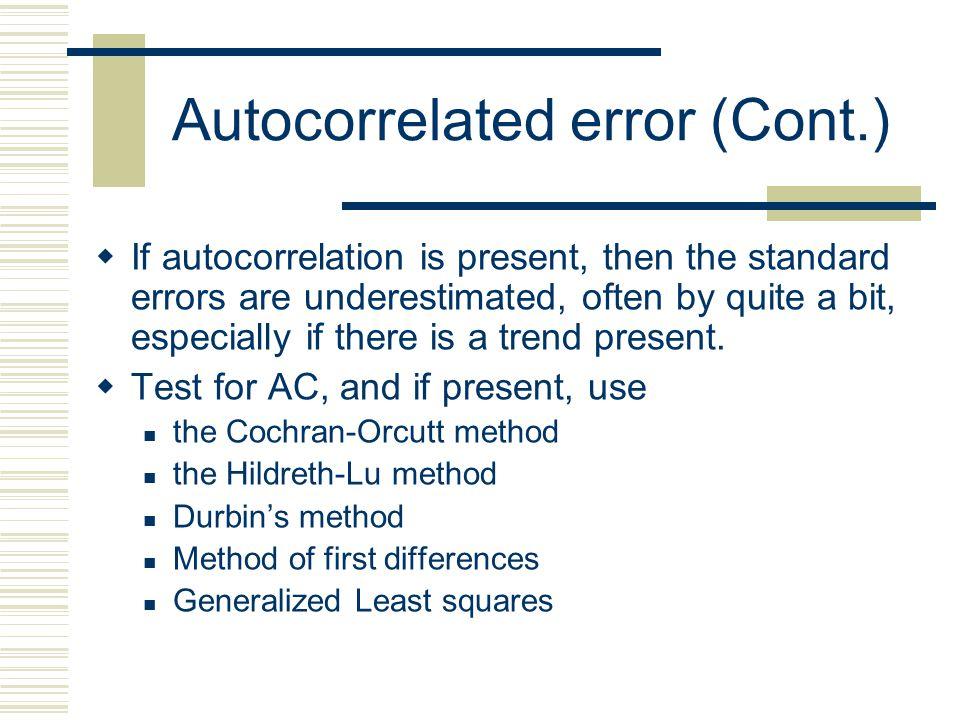 Autocorrelated error (Cont.)