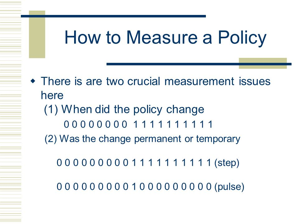 How to Measure a Policy There is are two crucial measurement issues here (1) When did the policy change.