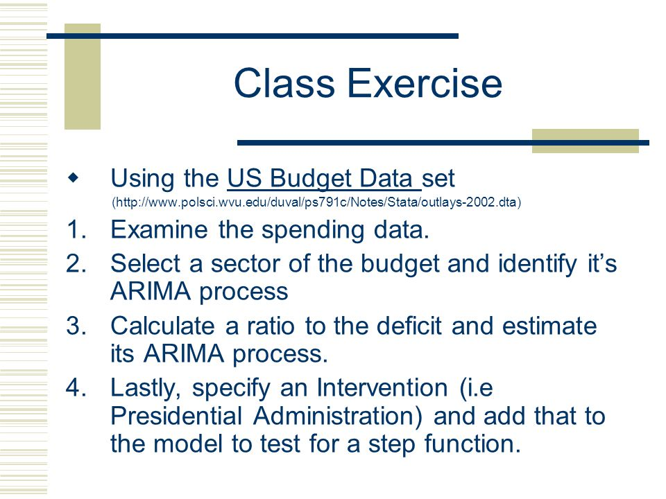 Class Exercise Using the US Budget Data set Examine the spending data.