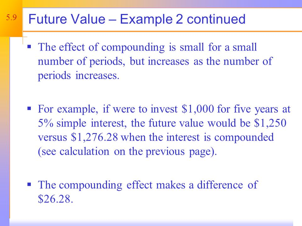 Future Value – Example 3 Compounding over long periods of time makes a huge difference.