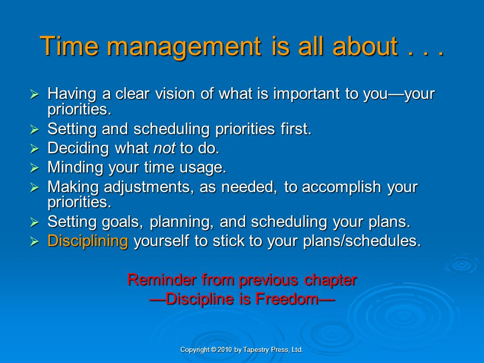 Time management is all about . . .