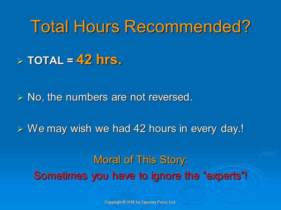 Total Hours Recommended