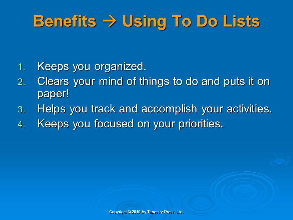 Benefits  Using To Do Lists
