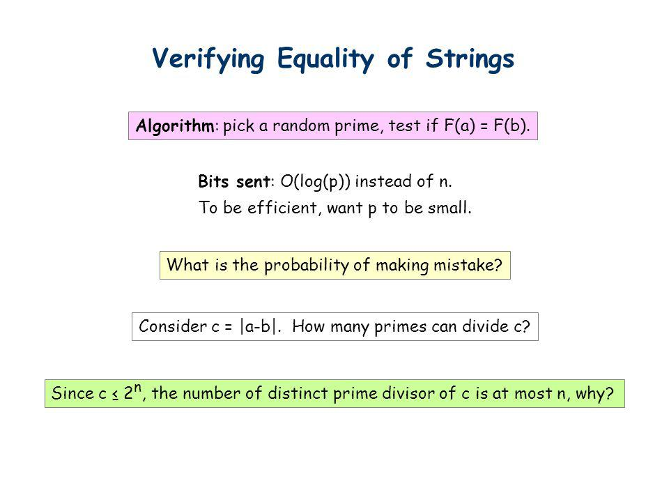 Verifying Equality of Strings